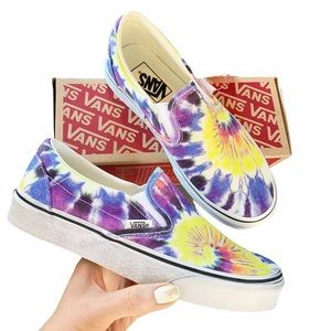 NEW Vans Classic Slip On Tie Dye Shoes Washed